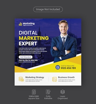 Digitale marketing social media-post of square business flyer