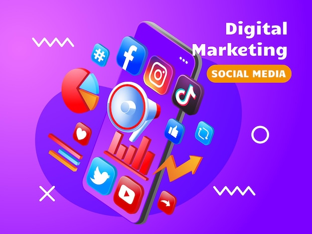 Digitale marketing sociale media met smartphone en megafoon