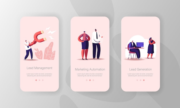 Digitale marketing strategie voor het genereren van leads mobiele app-pagina onboard-schermsjabloon