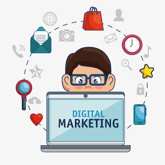 Digitale marketing technologie pictogram