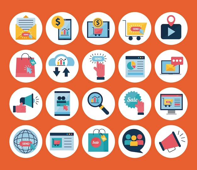 Digitale marketing vlakke stijl symbool decorontwerp, e-commerce en winkelen online thema illustratie