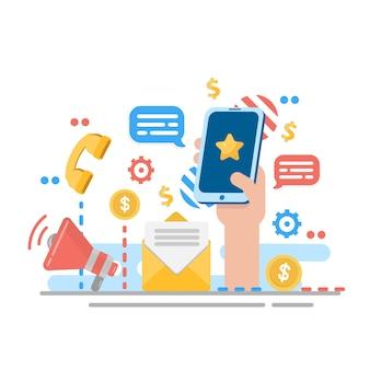 Digitale marketing voor website. aankondiging of aankondiging