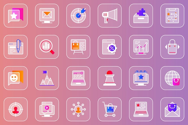 Digitale marketing web glassmorphic iconen set