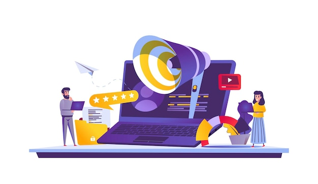 Digitale marketing webconcept in cartoon stijl