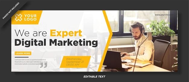 Digitale marketing webinar facebook omslagsjabloon ontwerp
