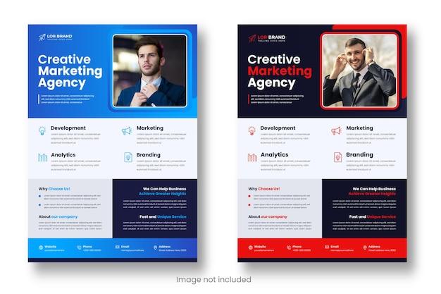 Digitale marketing zakelijke moderne zakelijke flyer ontwerpsjabloon met rode en blauwe kleur