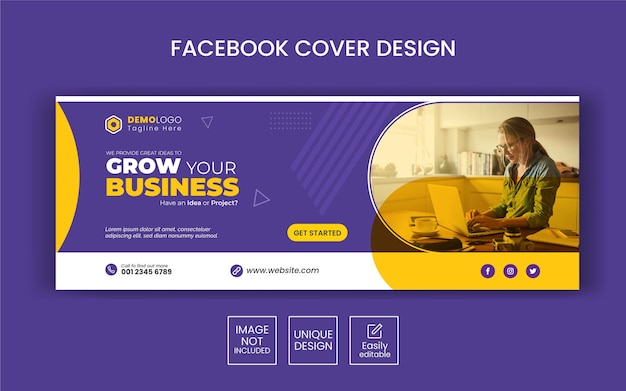 Digitale marketing zakelijke sociale media facebook-omslagsjabloon