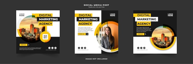 Digitale marketing zakelijke sociale media plaatsen met cirkelframe-collectie