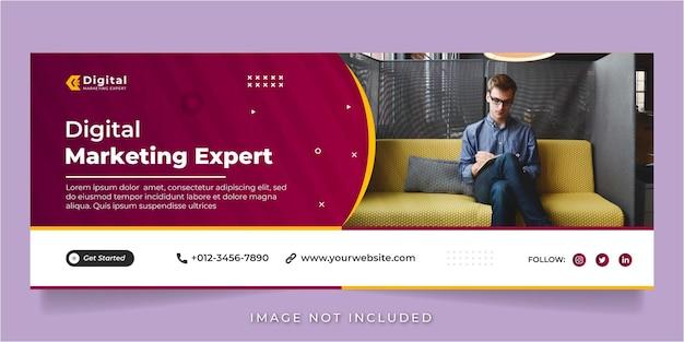 Digitale marketingexpert en zakelijke sociale media plaatsen banner facebook voorbladsjabloon