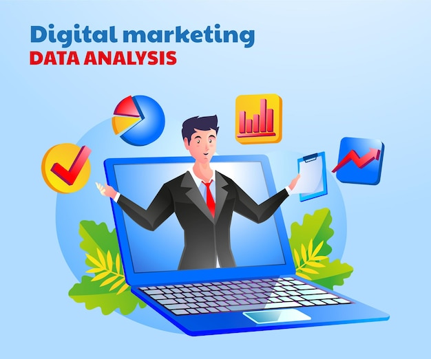 Digitale marketinggegevensanalyse met een man en een laptopsymbool