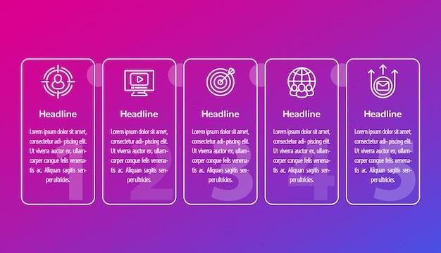 Digitale marketinginfographics met lijnpictogrammen