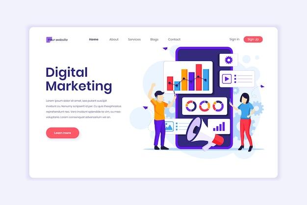 Digitale marketingmensen werken met grafische grafieken en gigantische smartphone-illustraties