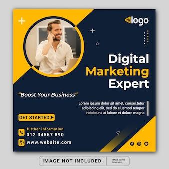 Digitale marketingpromotiebanner voor sociale media instagram postbannersjabloon of vierkante flyer