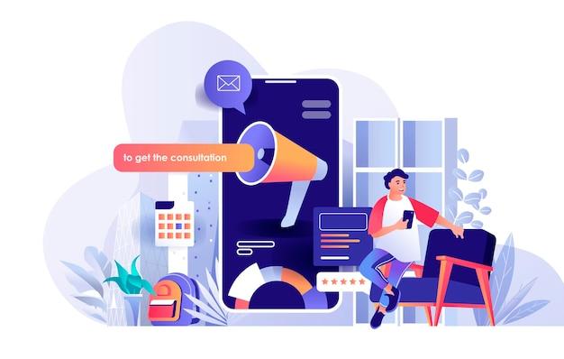 Digitale marketingscèneillustratie van mensenkarakters in vlak ontwerpconcept