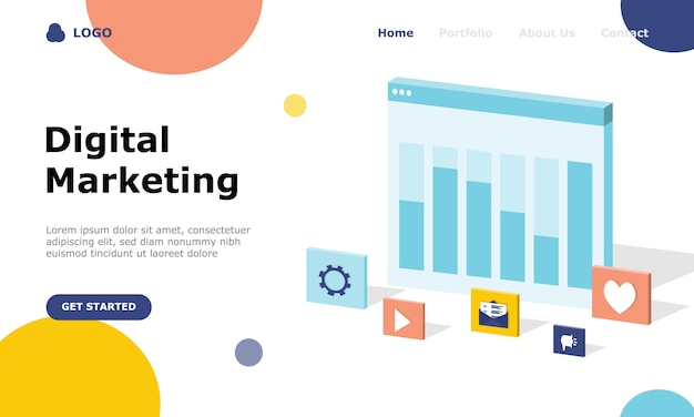Digitale marketingstrategie illustratie concept bestemmingspagina