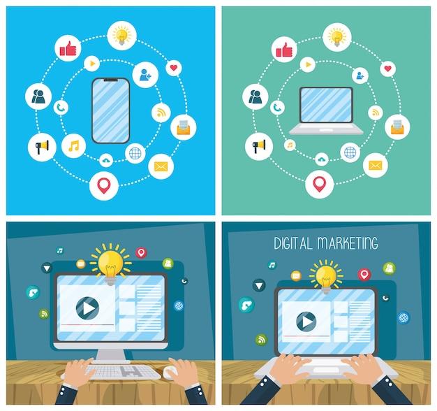 Digitale marketingtechnologie met elektronische apparaten