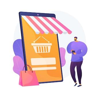 Digitale marktplaatsapplicatie. bedrijf op afstand. e-commerce, internetwinkel, mobiele markt. klant met behulp van smartphone stripfiguur. vector geïsoleerde concept metafoor illustratie