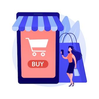 Digitale marktplaatsapplicatie. bedrijf op afstand. e-commerce, internetwinkel, mobiele markt. klant met behulp van smartphone stripfiguur.