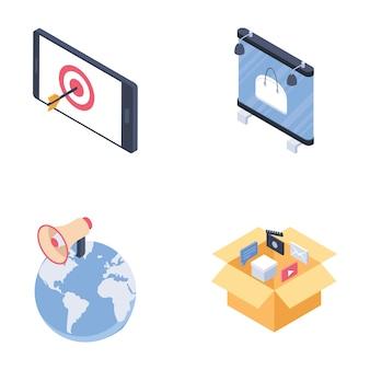 Digitale media voor advertentiekanalen isometrische pictogrammen instellen