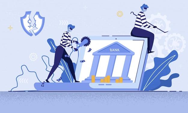 Digitale misdaden in het bankwezen vectorconcept