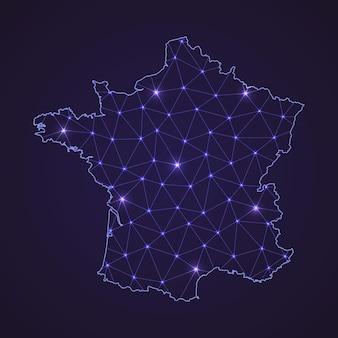 Digitale netwerkkaart van frankrijk. abstracte verbindingslijn en stip op donkere achtergrond
