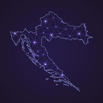 Digitale netwerkkaart van kroatië. abstracte verbindingslijn en stip op donkere achtergrond