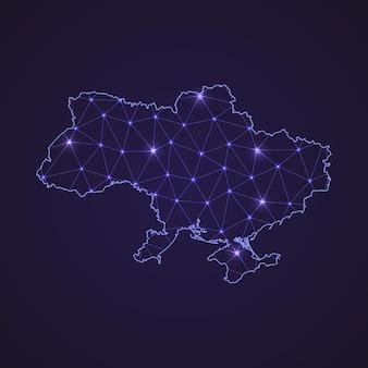Digitale netwerkkaart van oekraïne. abstracte verbindingslijn en stip op donkere achtergrond