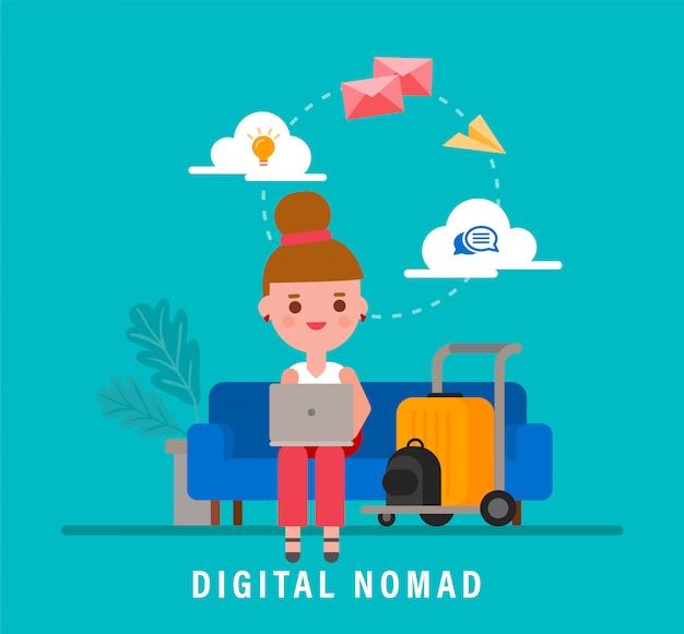 Digitale nomaden concept illustratie. jonge volwassene die met laptop werkt tijdens het reizen. vector platte ontwerp stripfiguur.