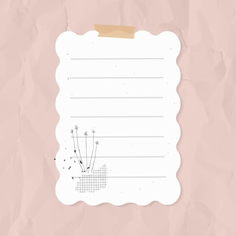 Digitale notitie vector bekleed papier element in memphis stijl