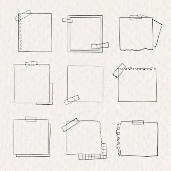 Digitale notitie vector set in de hand getekende stijl