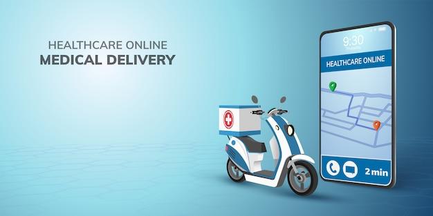 Digitale online gezondheidszorg transport arts levering op scooter met telefoon.