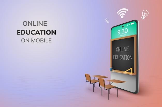 Digitale online onderwijs internet en lege ruimte op de telefoon.