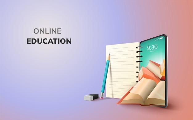 Digitale online onderwijsapplicatie wereldwijd leren op telefoon, mobiele website-achtergrond. sociaal afstandsconcept. decor by book lecture pencil eraser mobile. 3d illustratie - kopieer ruimte