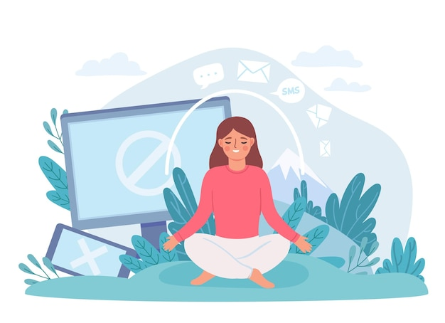 Digitale ontgifting. vrouw in lotushouding mediteert en neemt een pauze van internet, telefoon en sociale netwerken. koppel het offline vectorconcept los. digitale sociale media offline, cartoonmeditatie
