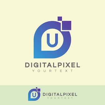 Digitale pixel eerste letter u logo ontwerp