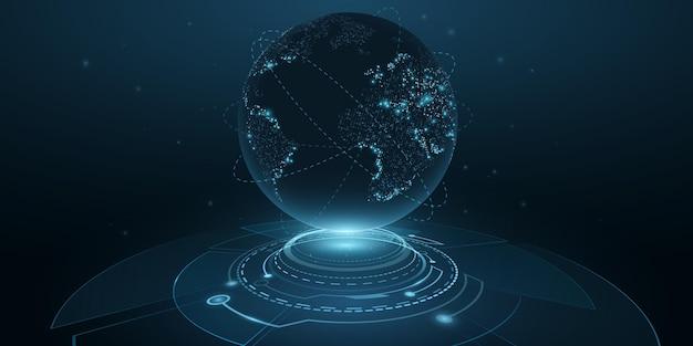 Digitale planeet aarde met hud-interface. bol hologram. 3d futuristische dot wereldkaart in cyberspace met lichteffecten. technologie achtergrondontwerp. vector illustratie. eps 10