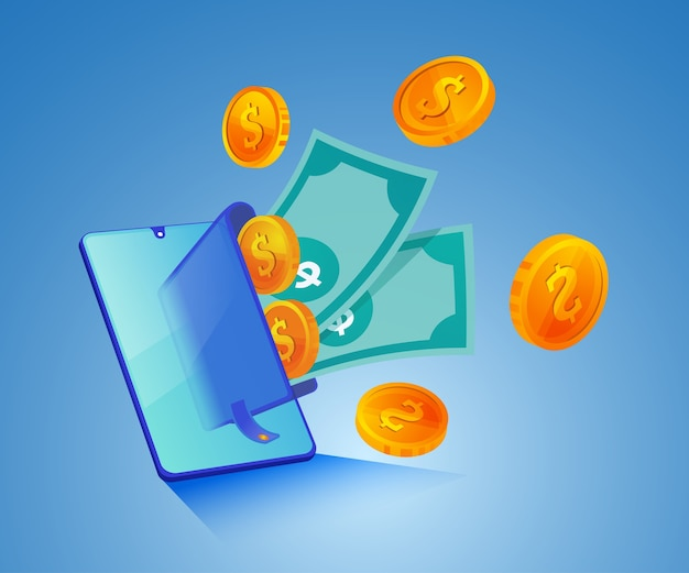 Digitale portemonnee en geld met een smartphone