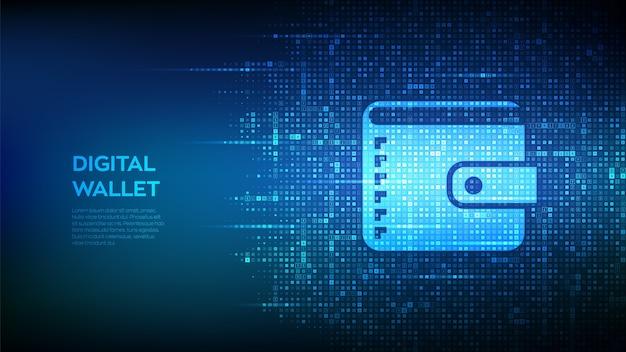 Digitale portemonnee. portemonnee pictogram gemaakt met valutasymbolen. achtergrond met valutatekens.