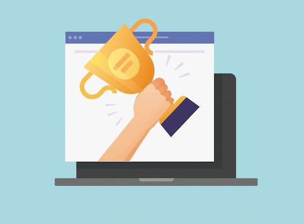 Digitale prijs winnaar cup online web op laptop computer vector icon
