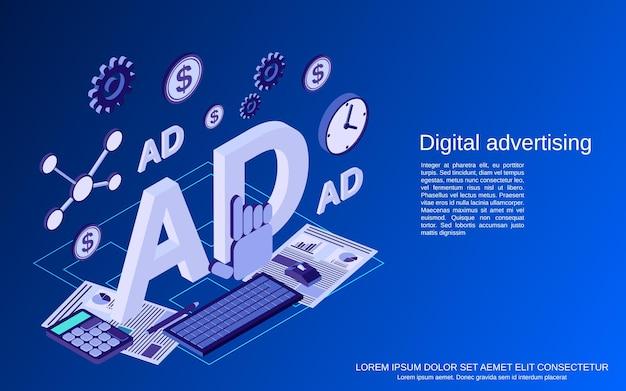 Digitale reclame, promotie, marketing platte isometrische vectorconceptenillustratie