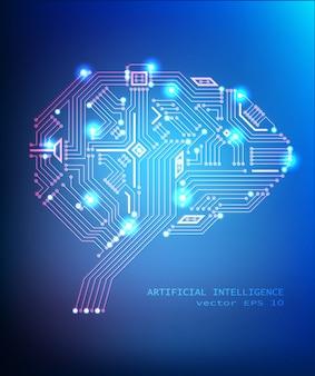 Digitale schakeling hersenen concept op blauwe achtergrond