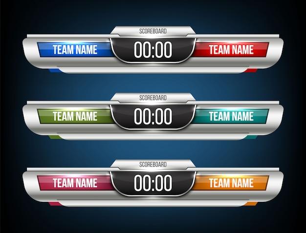Digitale scorebord sport uitzending grafische achtergrond.