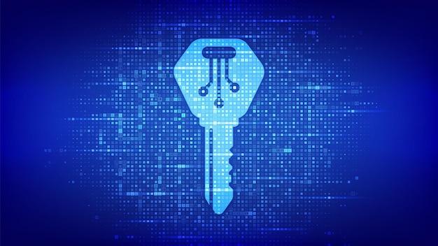 Digitale sleutel. elektronisch sleutelpictogram gemaakt met binaire code. cyberbeveiliging en toegangsachtergrond. digitale binaire gegevens en streaming digitale code. matrixachtergrond met cijfers 1.0. vectorillustratie.