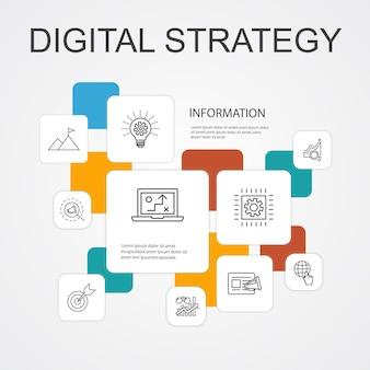 Digitale strategie infographic 10 lijn pictogrammen template.internet, seo, content marketing, missie eenvoudige pictogrammen