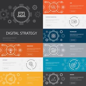 Digitale strategie infographic 10 lijnpictogrammen banners.internet, seo, contentmarketing, missie eenvoudige pictogrammen