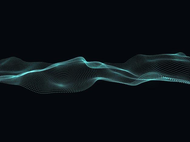 Digitale stroom deeltjes. abstracte golf vectorachtergrond