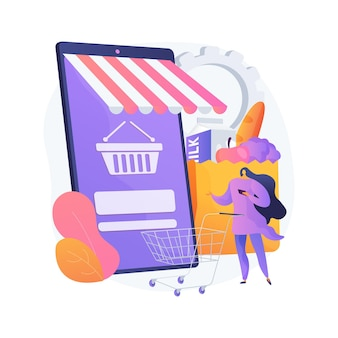 Digitale supermarkt abstract concept vectorillustratie. digitale aankoop, informatietechnologie, online betaling, supermarkt, mobiele retailapplicatie, abstracte metafoor voor winkelkorting.