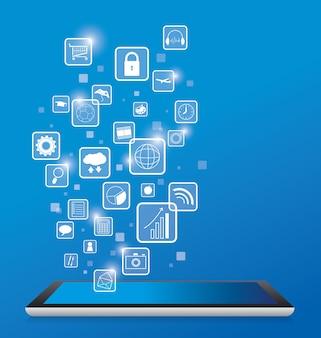 Digitale tablet met bedrijfstechnologie pictogram