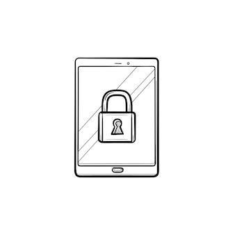Digitale tablet met hangslot hand getrokken schets doodle pictogram. syber-beveiliging, gegevensbescherming en veiligheidsconcept