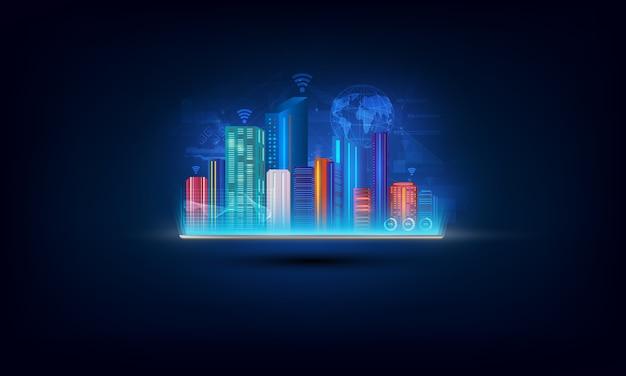 Digitale tablet met slimme stad, netwerken internet van dingen.